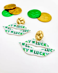 Lucky Green and White Lip Earrings on Gold Posts