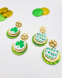 Lucky Clover Coin Disc Earrings on Posts