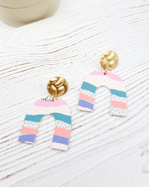 Springtime Abstract Stripe Beau Earrings