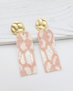 Blush Pink Lace Glitter Bar Earrings