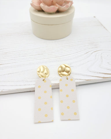 White and Gold Polka Dot Bar Earrings