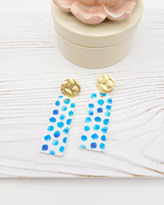 Aqua Blue & White Spotted Bar Earrings