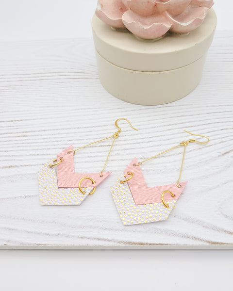 Pink and White with Metallic Gold Chevron Triangle Earrings
