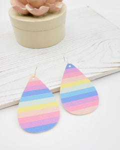 Bright Spring Strip Teardrop Earrings