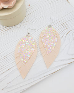 Blush Pink Glitter Feather Earrings