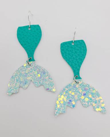 Long 2-toned Teal Glitter Mermaid Tail Earrings