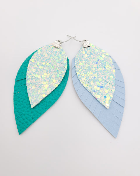 Elsa Teal or Light Blue Fringe Feather Earrings