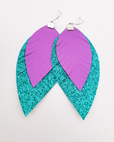 Ariel Purple and Teal Fringe Feather Earrings