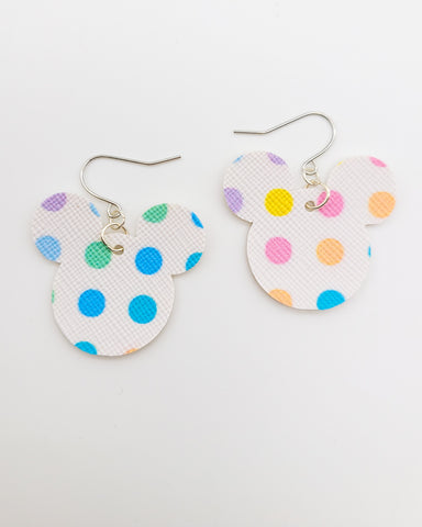 Bright Multicolor Polka Dot Mickey Head Earrings