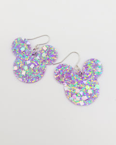 Purple Glitter Mickey Head Earrings
