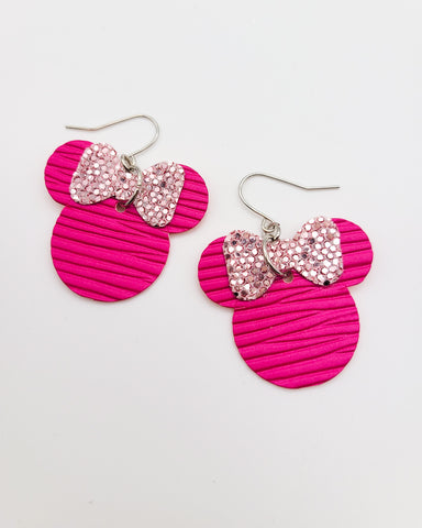 Hot Pink and Light Pink Glitter Minnie Head Earrings