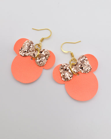 Neon Coral and Rose Gold Minnie Head Earrings