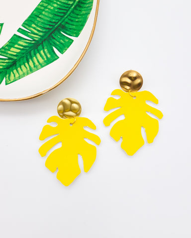 Bright Yellow Monstera Leaf Earrings