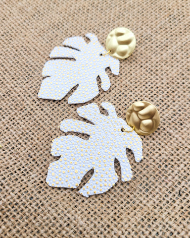 White and Gold Monstera Leaf Earrings