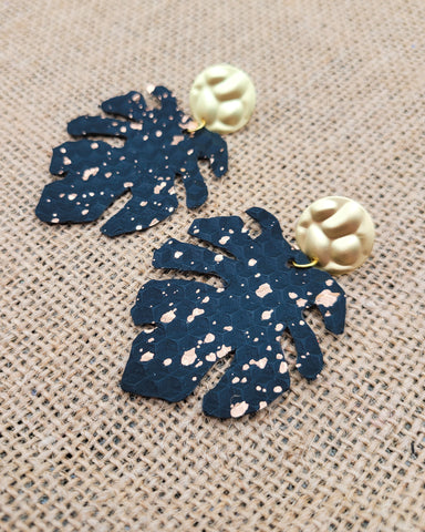 Black and Gold Monstera Leaf Earrings