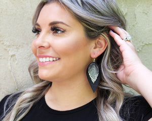 Silver Snakeskin & Black Layered Pinched Feather Earrings