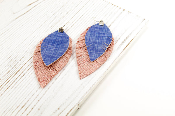 Denim & Rose Pink Snakeskin Fringe Feather Earrings