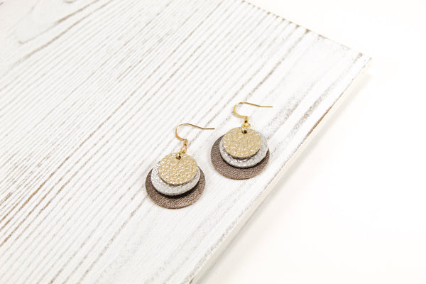 Layered Coin Earrings, Disc