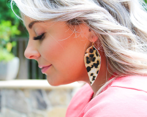 Matte Leopard Pinched Feather Earrings