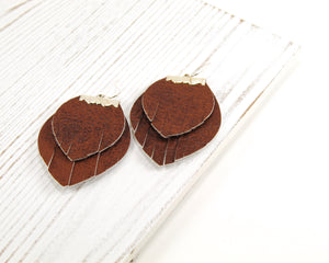 Brown Layered Fringe Earrings