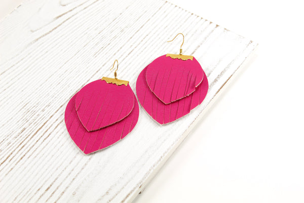 Layered Hot Pink Fringe Earrings