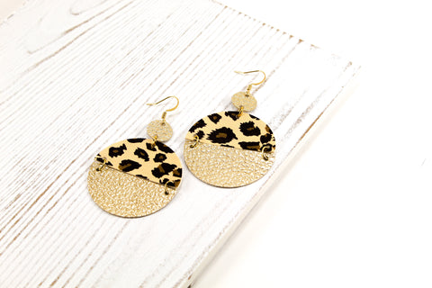 Leopard & Gold Drop Disc Earrings