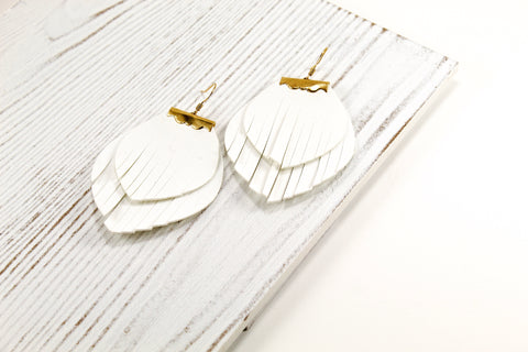 Layered White Fringe Earrings