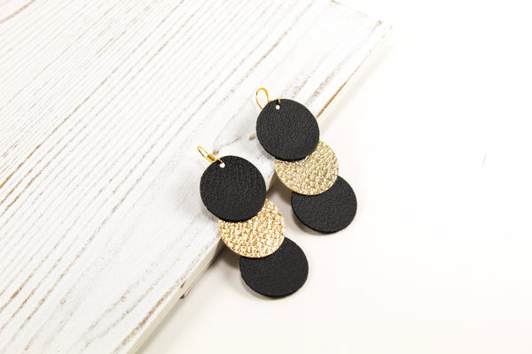 Black & Gold Disc Drop Earrings