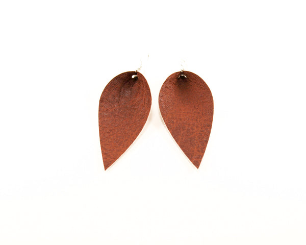 Distressed Brown Pinched Feather Earrings