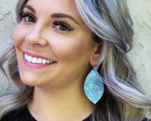 Marbled Blue & Grey Shimmer Leaf Earrings