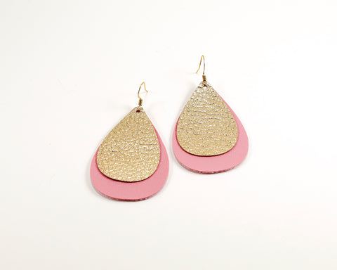 Metallic Gold & Light Pink Layered Teardrop Earrings
