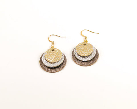 Layered Coin Earrings, Gold & Silver