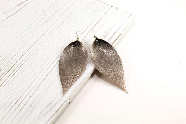 Gunmetal Pinched Feather Earrings