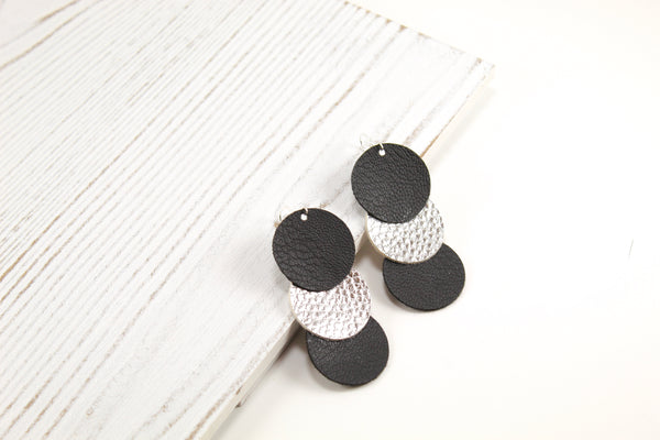 Black & Silver Disc Drop Earrings
