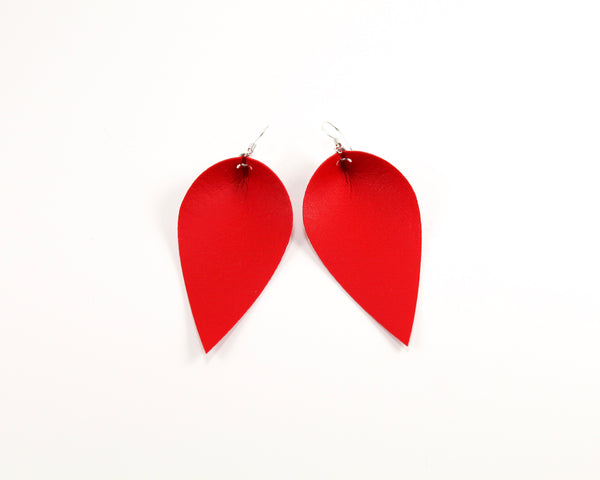Firecracker Red Pinched Feather Earrings
