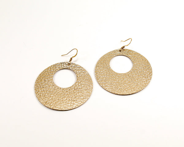 Metallic Gold Open Disc Earrings
