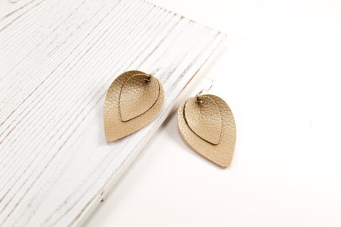 Soft Gold Layered Pinched Petal Earrings