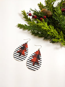 Red Plaid and Striped Christmas Tree earrings