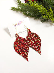 Red & Gold Print Glitter Ornament Earrings