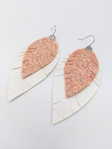 Blush Pink Chunky Glitter over Pearl Fringe Feather Earrings