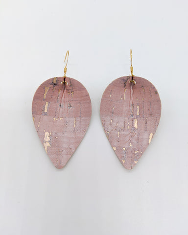 Rose Gold Cork Pinched Petal Earrings