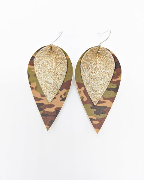 Camo Print & Champagne Shimmer Pinched Feather Earrings