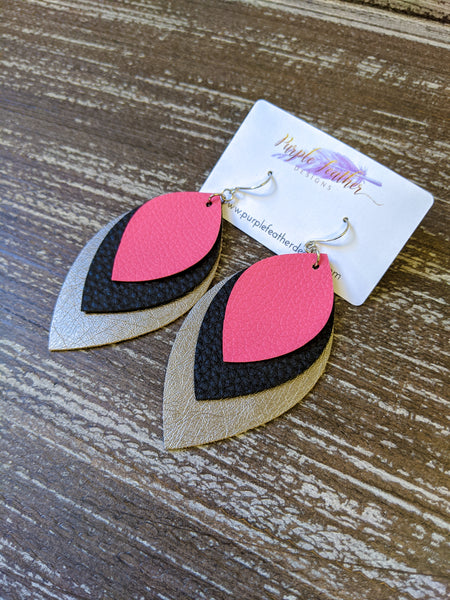 Hot Pink, Black, Gunmetal Layered Leaf Earrings