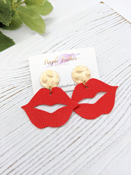 Open Red Lips Post Earrings
