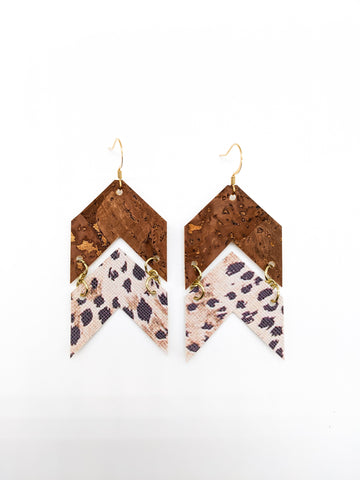 Brown Cork & Cheetah Chevron Arrow Earrings