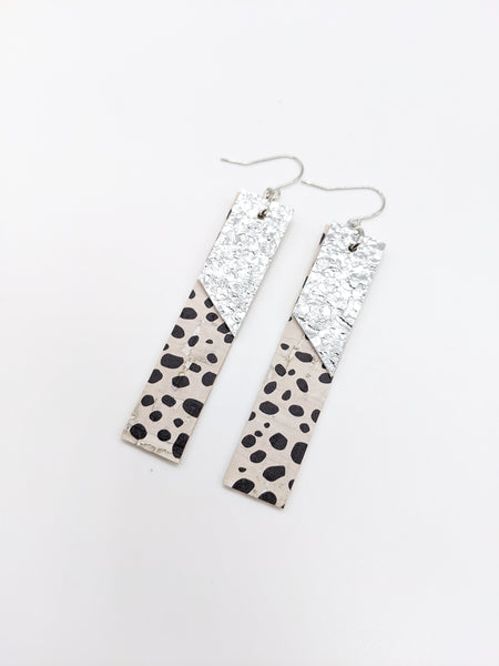 Dalmatian Print & Druzy Silver Layered Bar Earrings