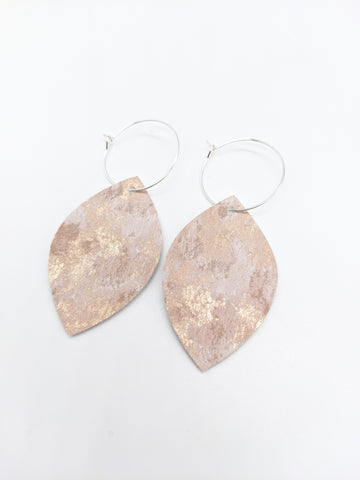 Rose Gold Marble Leaf Hoop Earrings