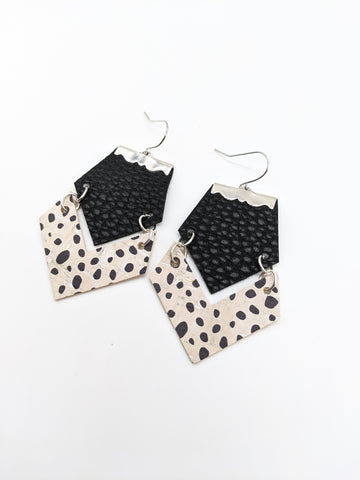 Black & Dalmatian Print Geo Earrings