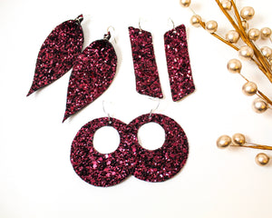 Deep Wine / Burgundy Glitter Earrings