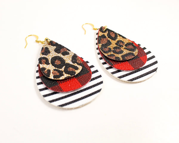 Leopard, Red Plaid & Stripes Teardrop Earrings